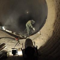 Cementárna Radotín, Praha 5 – tryskání vnitřního pláště rotační pece